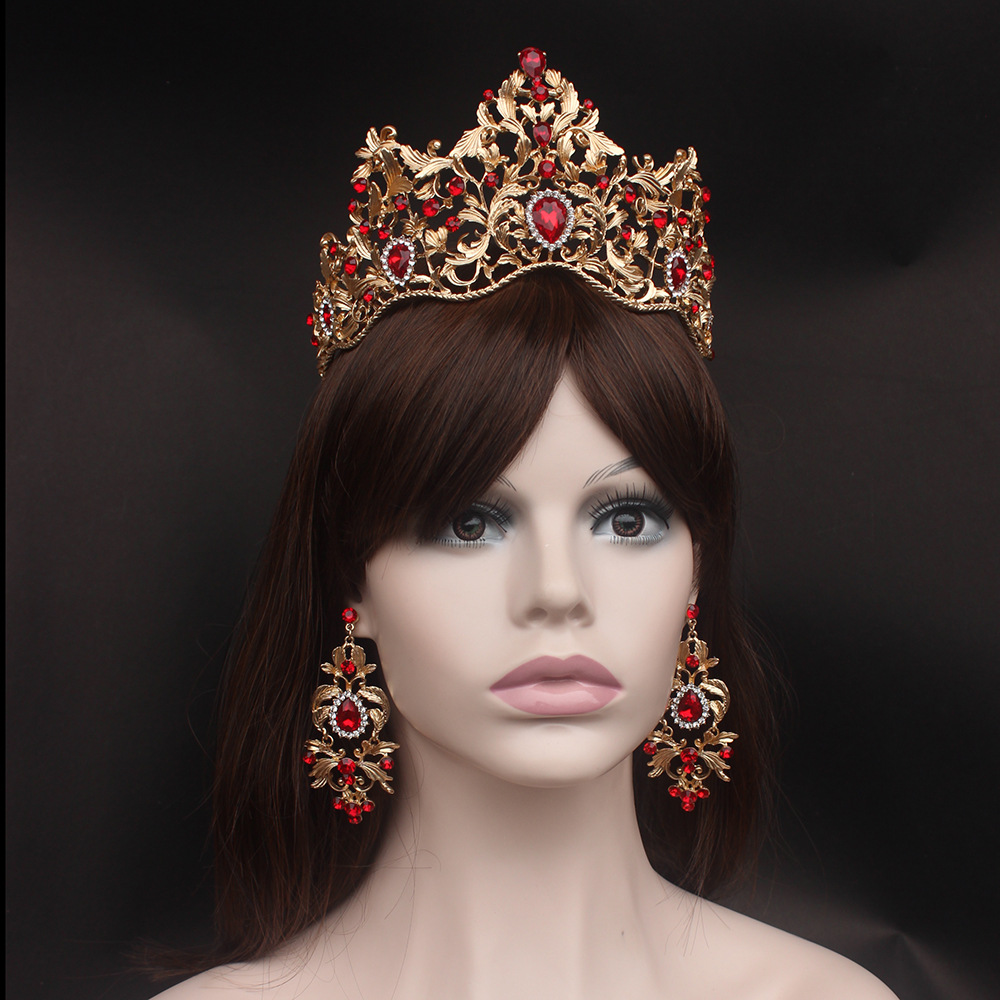 Fashion Baroque Magnificent Red Crystal Bridal Tiaras Green Wedding Crown for Bride Pageant Headbands Wedding Hair Accessories red gorgeous ancient chinese wedding hair tiaras for bride and groom or no 1 scholar officer hat
