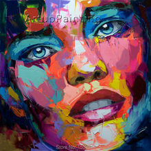 Palette knife painting portrait Face Oil Impasto figure on canvas Hand painted Francoise Nielly 14-30