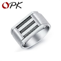 OPK Punk Wire Cable Biker Rings For Men 316L Stainless Steel Brushed Design Black White Color
