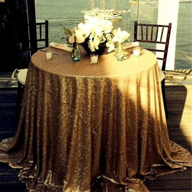120 Round Sequin Tablecloth Banquet Wedding Party Gold Table Cloth For