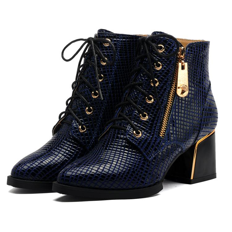 ФОТО Boots Genuine leather lacing high-heeled plus size 40 41 42  small yards shoes 33 high heel 6CM EUR 32-43