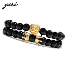 YUXI Wild Animal King Lion Double Crown Wrap Bracelet Set For Women Men Black Stone Stretch Beaded Bracelets Pulseras Hombre
