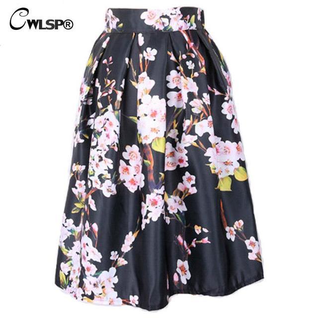 Para mujer Otoño Invierno Faldas de Cintura Alta Faldas Impreso Floral Satén de La Vendimia Elegante de Rayas Falda Plisada Saia Más Tamaño QZ1784