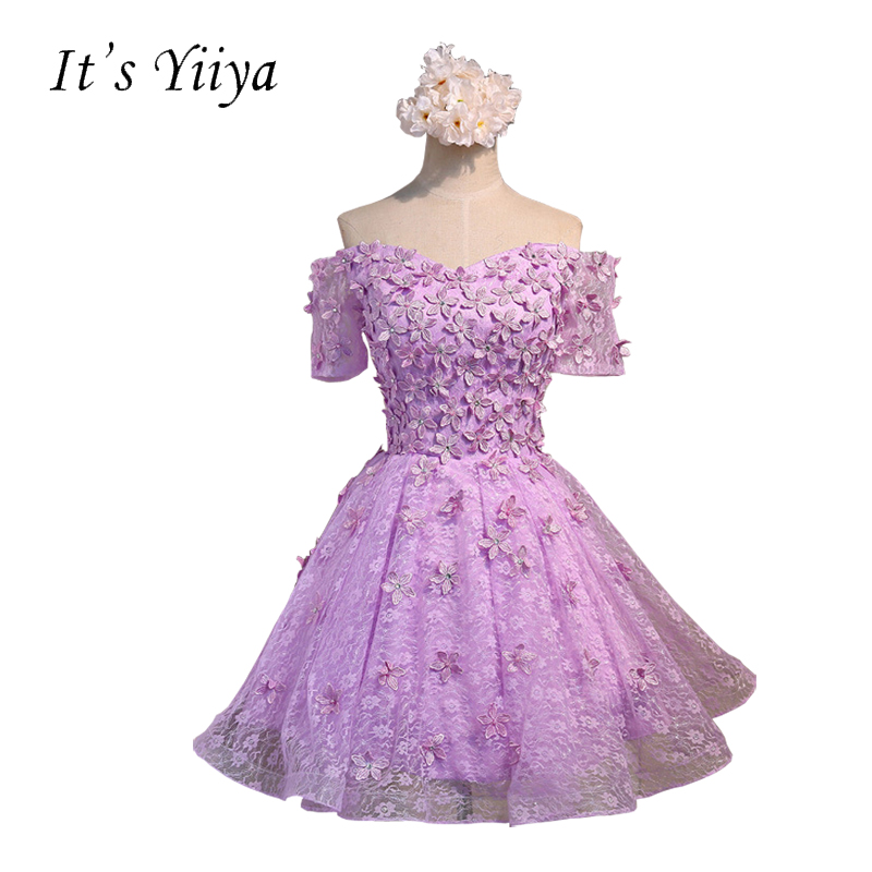 It's YiiYa Purple Pink Boat Neck Short Sleeves Flowers A-line Cocktail Dresses About Knee Lace up Simple Formal Dress BF002