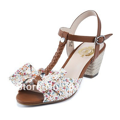 2013 New Arrival VANCL Women's Lassie T-Bar Bow High Quality High Heel Sandals Brown/Red FREE SHIPPING