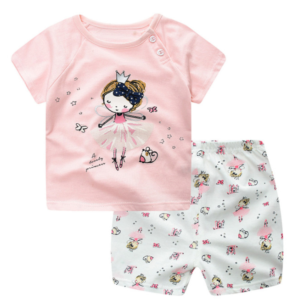 2PCS Lovely Dancing Girl Printed Baby Girl Boy ClothIng Set Infant Angel Princess Cartoon Animal Kids Clothes Casual Cotton Sets newborn baby boy girl 5 pcs clothing set cotton cartoon monk tops pants bib hats infant clothes 0 3 months hight quality