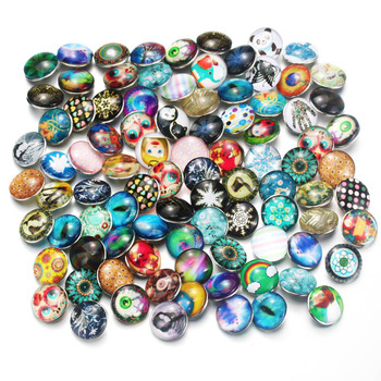 100pcs/lot Mixed Many Styles Snaps 18mm Glass Snap Button Fit Choker Buttons Watch Button Bracelet Snaps Jewelry 7852 button