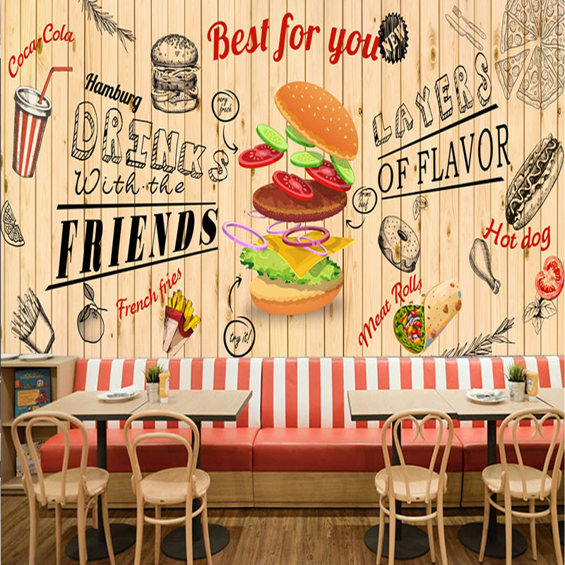 Drop Shipping Custom European And American Hand-Drawn Burger Fast Food Restaurant Snack Bar Background Custom 3d Mural WallpaperDrop Shipping Custom European And American Hand-Drawn Burger Fast Food Restaurant Snack Bar Background Custom 3d Mural Wallpaper