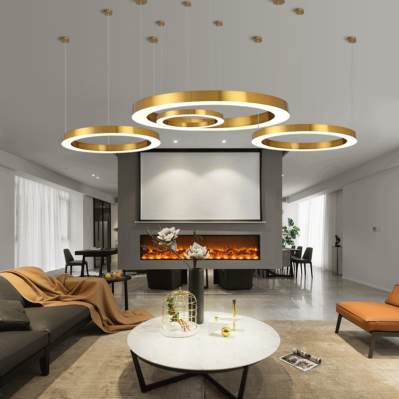 Post Modern LED Pendant Lights Round Circular Gold Ring Hanging Lamp Dining Room Living Room Lustre Stainless Steel Pendant Lamp
