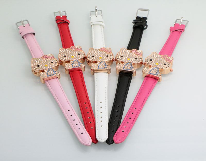 Hot Penjualan Lucu Hello Kitty Perhiasan Anak Gadis Wanita Mode Kristal Gaun Quartz Jam Tangan Anak-anak Hadiah Perhiasan 048-28 Floral