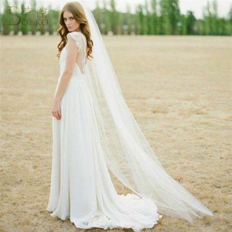 BOAKO One Layer Women Wedding Veil With Comb 2M Long Lace Edge Cathedral Bridal Veil Accessories Velos De Novia Voile De Mariee