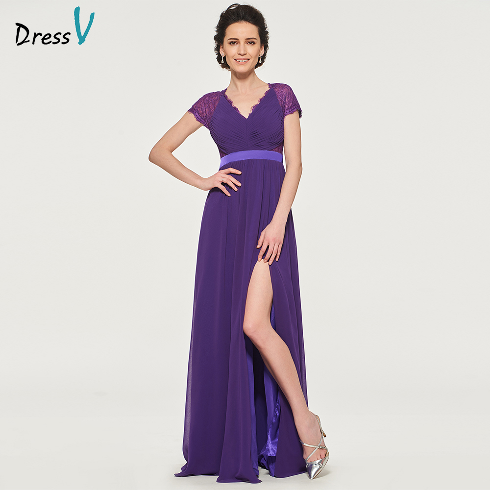 Dressv elegant v neck short sleeves mother of bride dress split-front floor length long mother evening gown custom mother dress