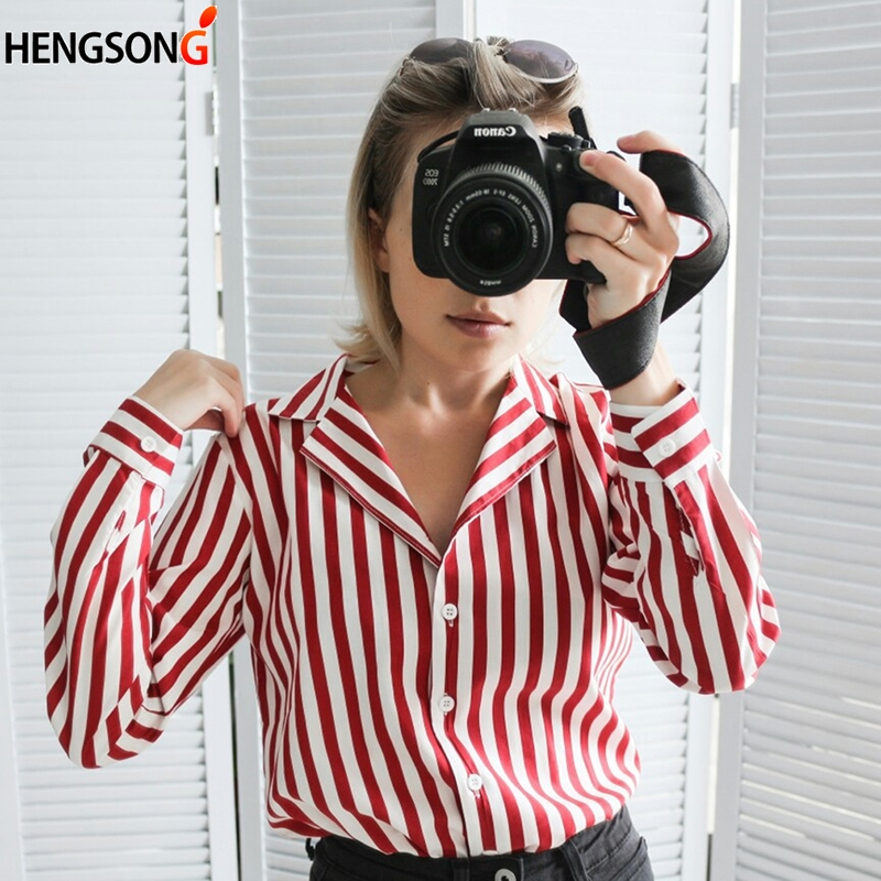2018 New Womens Tops And Blouse Spring Autumn Long Sleeve Work Shirts Black Red Strips V-Neck Office Tops Striped Blouses Blusa