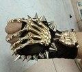 2016 новые Заклепки перчатки череп заклепки перчатки спуск все матч перчатки общие черные перчатки певица Аксессуары костюм
