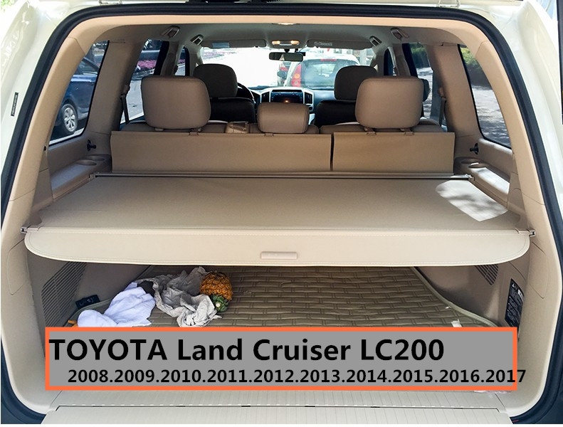 Car Rear Trunk Security Shield Cargo Cover For TOYOTA Land Cruiser LC200 2008-2017 Black / Beige High Qualit Auto Accessories car rear trunk security shield shade cargo cover for toyota highlander 2009 2010 2011 2012 2013 2014 2015 2016 2017 black beige