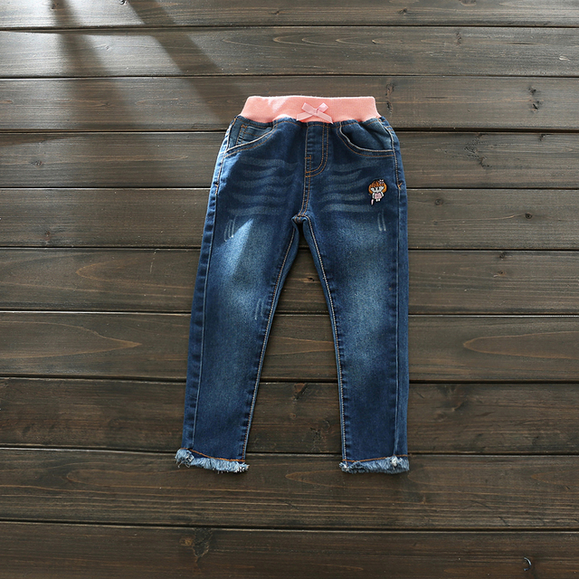 2017 New Arrival Baby Girls Fashion Denim Jeans Girls Casual Jeans Kids Spring Autumn Elastic Waist Jeans Child Long Pants