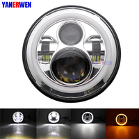 Motorcycle headlamp 7 INCH 40W LED Headlights Bulb with Halo Angel eyes Hi/Lo Beam for Motorcycle Projector 7 inch Led headlamp