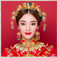 Chinese Style Bride Costume Hair Accessory Traditional Headdress 24K Gold-plated Flowers Crystal Beads Hairpins Hair Accessory