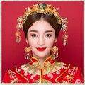 Estilo chino de La Novia Accesorio Del Pelo Del Traje Tradicional Tocado 24 K chapado en Oro de Flores de Bolas de Cristal de Las Horquillas Del Pelo Accesorio
