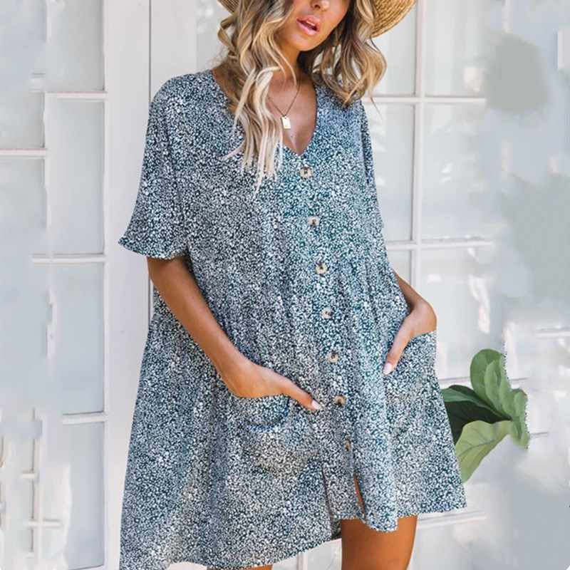 LOSSKY Floral Print Mini Dress V-neck Short Sleeve Women's Dresses 2019 New Summer Pocket Loose Casual Button Beach Short Dress