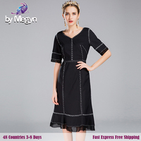 By Megyn 2017 High Quality Runway Dresess Women S Summer Sexy V Neck Elegant Black Embroidery
