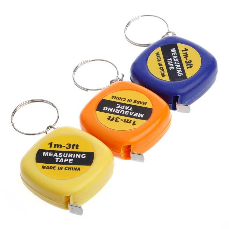 سهلة قابل للسحب حاكم شريط القياس المحمولة الصغيرة سحب حاكم المفاتيح 1 متر لون عشوائي