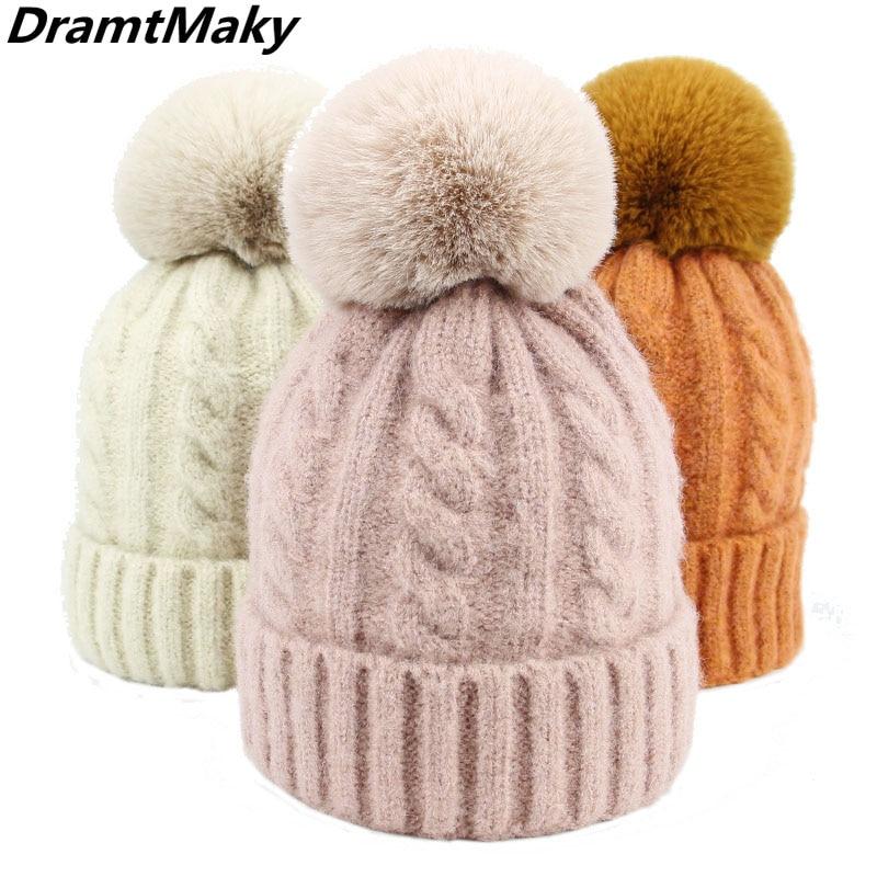 2018 Fashion Wool Women Fur Pom Poms Fashion Knitted Hat Girls Female   Beanie   Cap Pompom Winter Hats for Women   Skullies     Beanies