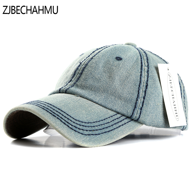 ZJBECHAHMU Hats Fashoin solid Denim Adjustable Vintage   Baseball     Caps   For Men Women Spring Summer Autumn Hip Hop Snapback Hats