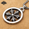 Star of David Gothic Vintage Cross Hexagram stainless steel the hollow out  big round pendant  for  Men and women necklace