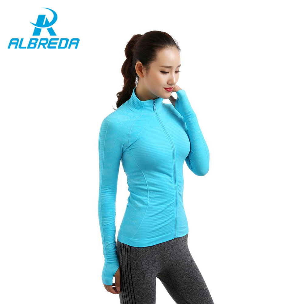 ALBREDA 2018 New Winter Women's Outdoor Training Fitness Running Yoga T-shirt Long Sleeved Sports Jacket Quick drying yoga top