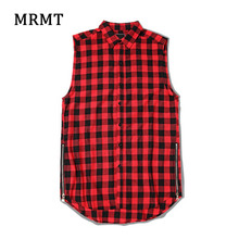 Hip Hop Plaid Sleeveless Black Red Blue Black And White Shirt Vest And T Extended On Both Sides
