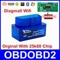 Super Mini Diagmall Wifi 25K80 Chip Para Todos Os Protocolos OBD2 Melhor do que o ELM327 ELM 327 V1.5 OBDII Do Carro Ferramenta de Diagnóstico Android IOS