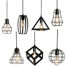 7 Тип современный подвесной светильник в черную клетку Железный минималистичный ретро скандинавский Лофт Пирамида лампа металлическая Подвесная лампа E27 для помещений
