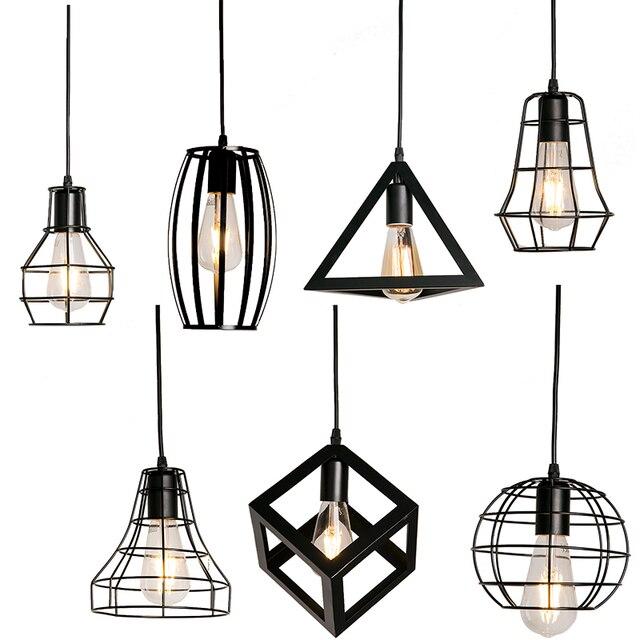 7 סוג מודרני שחור כלוב תליון אורות ברזל מינימליסטי רטרו נורדי לופט פירמידת מנורת מתכת תליית מנורת E27 מקורה