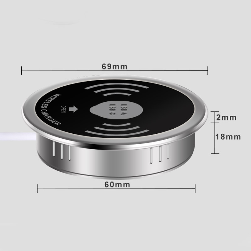 Built in Desktop Device Qi Fast Wireless Charger 15W 10W 7.5W or 5W Quick Charger 3.0 Embedded Caricabatter Tipe C Chargeur 4