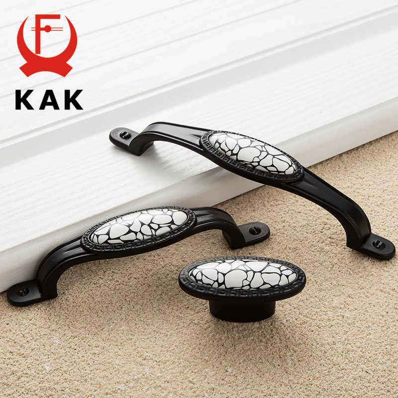 Poignées de porte de garde-robe en relief noir KAK poignées d'armoire en céramique de marbre boutons de tiroir poignées de matériel de meubles de Style américain