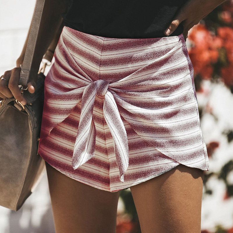 Women Fashion Shorts Summer Casual Personality Soft Shorts High Waist Striped Front Bowknot Short High Quality Got Sale