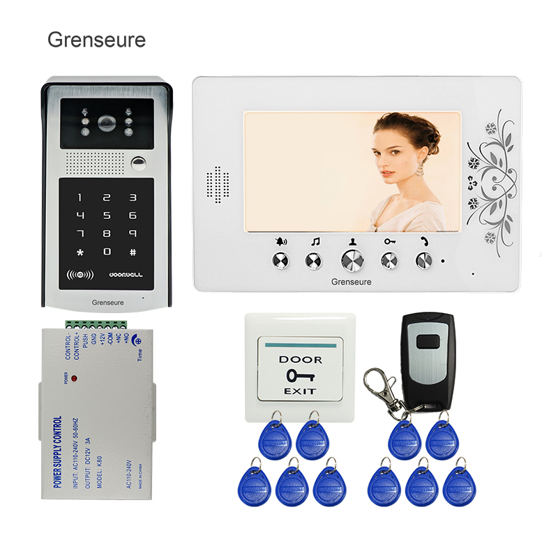 FREE SHIPPING 7 Color Screen Video Door Phone Intercom Kit + White Monitor + RFID Access Keypad Password Door Camera In Stock free shipping new 7 tft lcd screen record video door phone intercom system outdoor rfid access keypad password camera 8g sd