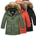 Casacos de inverno das crianças roupas meninos 2016 nova grosso quente meninos grandes para baixo casaco gola de pele com capuz meninos casaco outerwear DQ174