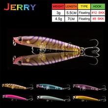 Jerry 1pc 5.5cm/ 7cm topwater pencil bait ultralight fishing lures surface lures hard bait white strips BKK hook