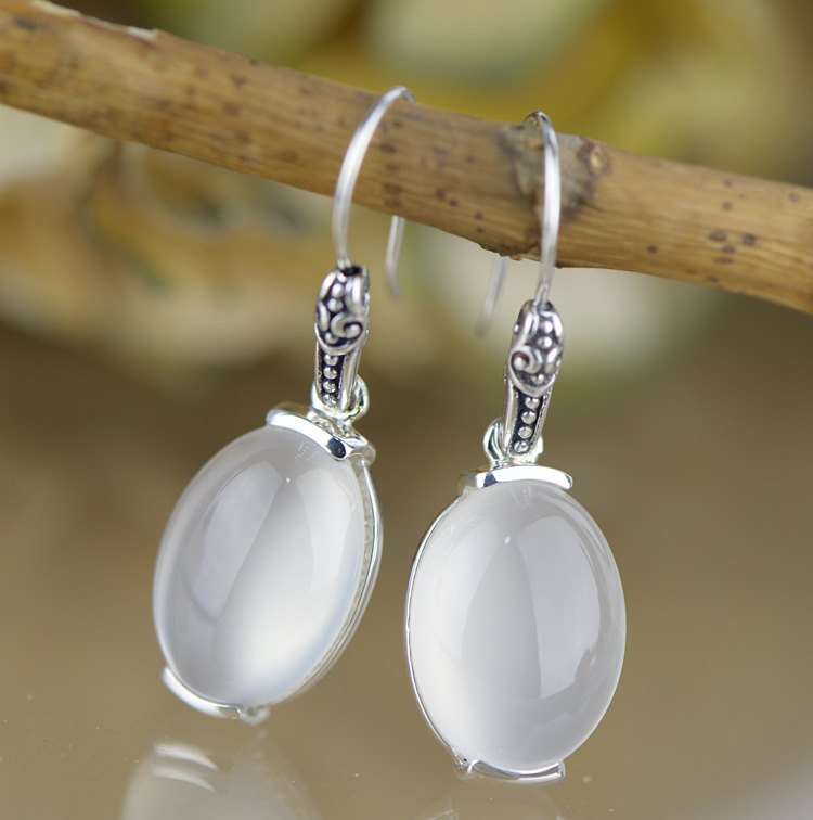 Earings Fashion Jewelry Product 925 Tremella Decorations, Natural Jade Pulp Earrings, Womens Antique Fashion, Thai Earrings. Earings Fashion Jewelry Product 925 Tremella Decorations, Natural Jade Pulp Earrings, Womens Antique Fashion, Thai Earrings.