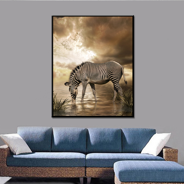 Zebra Deer Simple Canvas Painting Wall Art Animal Posters And Prints Paintings For Living Room Frameless