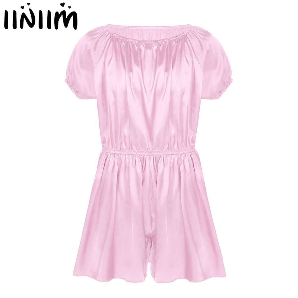 Iiniim Gay Mens Sissy Lingerie Bodysuits Elastic Shiny Frilly Satin Dress Pants Sexy Nightwear Wedding Party Pajamas
