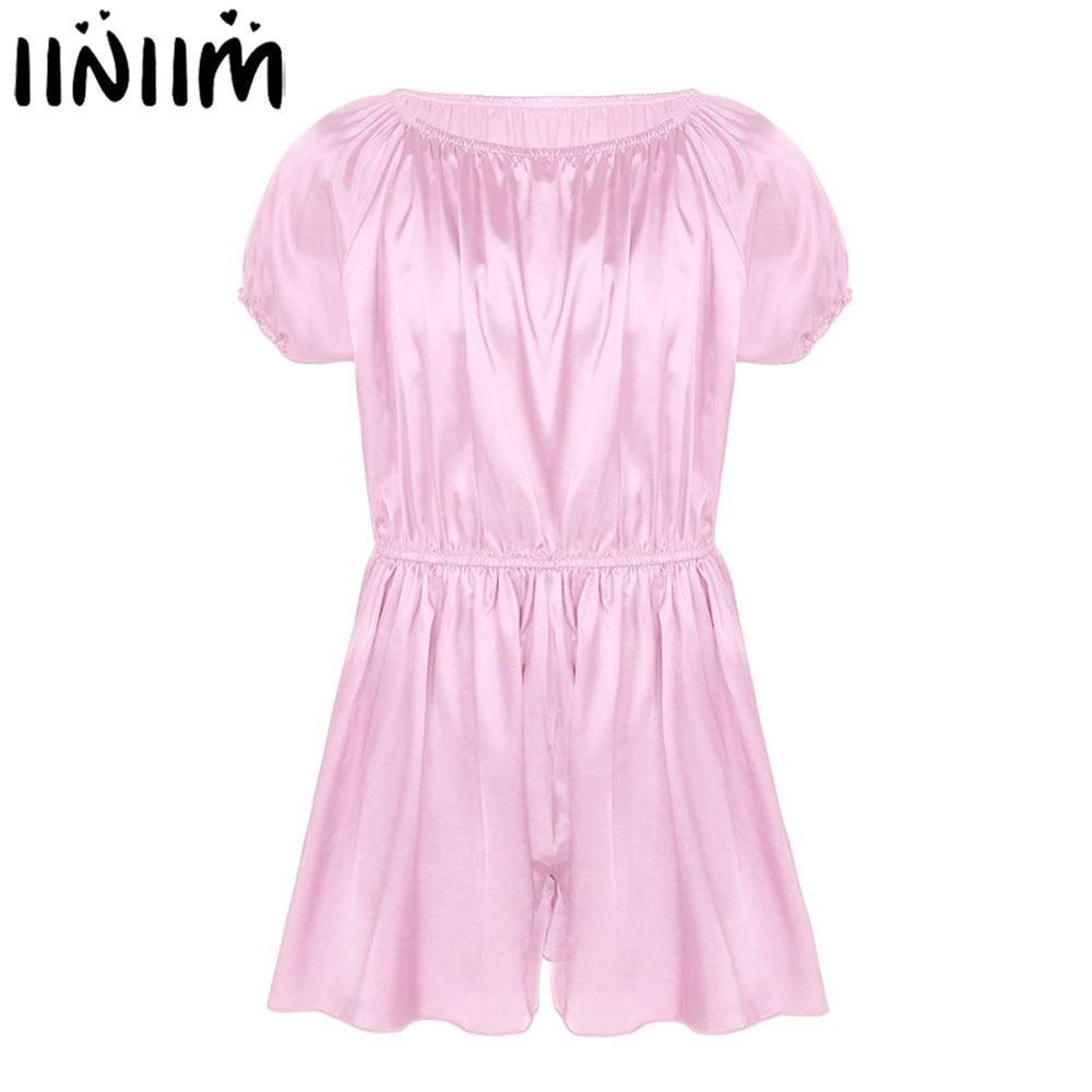 Iiniim Gay Mens Sissy Lingerie Bodysuits Elastic Shiny Frilly Satin Dress Pants Sexy Nightwear Wedding Party Pajamas