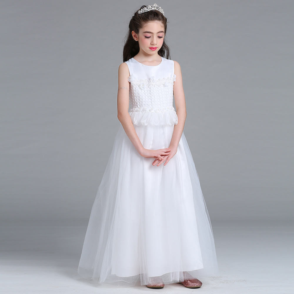 3ab93428290 4-15 Yrs Teenagers White Long Formal Dress for Party and Wedding Teens Girls  Evening Gowns Baby Kids Clothes Monsoon Girls Dress