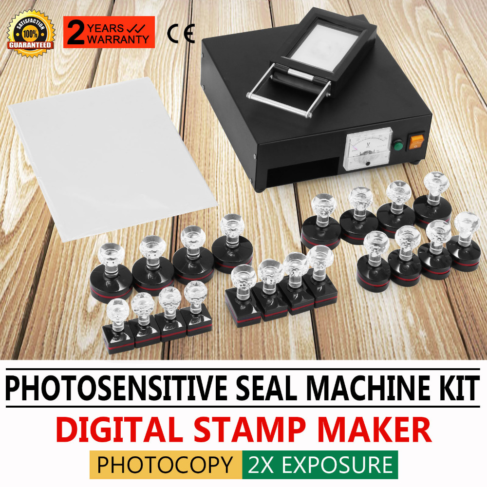 Europe Free Shipping Photosensitive Portrait Flash Stamp Self-inking Stamping Making Machine Kit bbloop urgent by hand outline self inking stamp rectangular laser engraved red