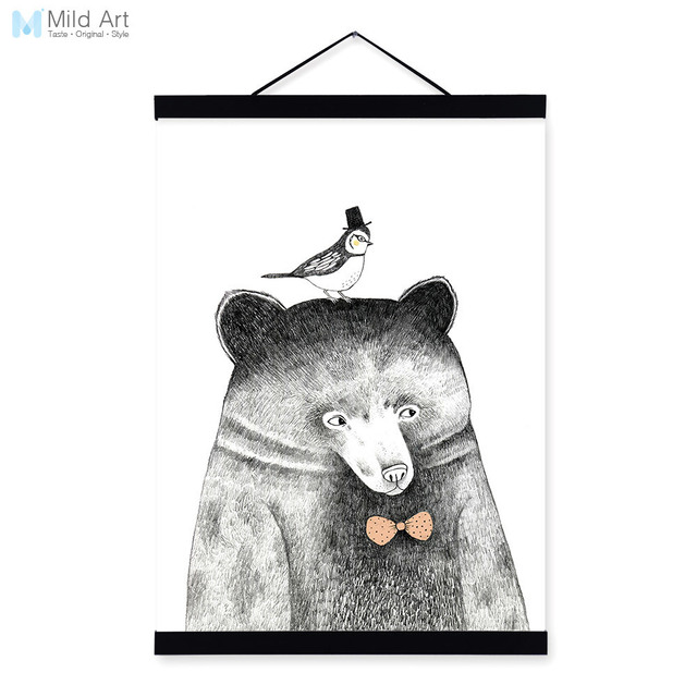 Modern Nordic Black White Kawaii Animal Bear A4 Wood Framed Canvas ...