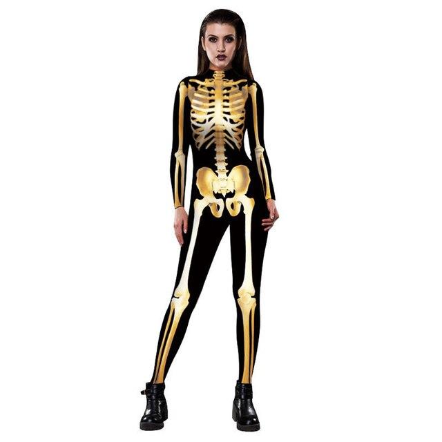 Halloween Party Kleding.Us 33 02 2017 Halloween Party Kleding Golden Skeleton Frame Cosplay Skinny Vrouwen Jumpsuits Coltrui Halloween Kostuum Rompertjes Voor Vrouwen In