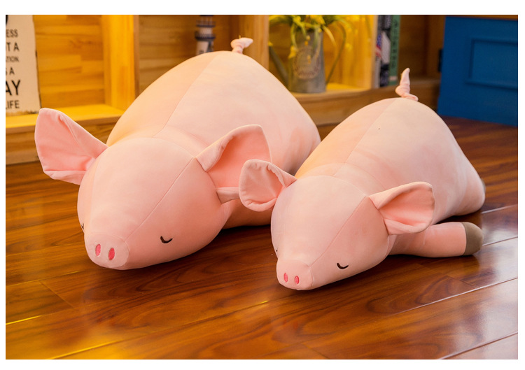 Novo estilo encantador rosa propenso boneca porco porco brinquedo de pelúcia grande 100 cm algodão macio travesseiro para dormir presente de natal b0009
