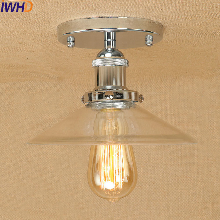 RH Iron Industrial Vintage Ceiling Lights Glass Retro Loft Ceiling Lamp Fixtures Home Lighting Lamparas De Techo Avize Luminaire цена